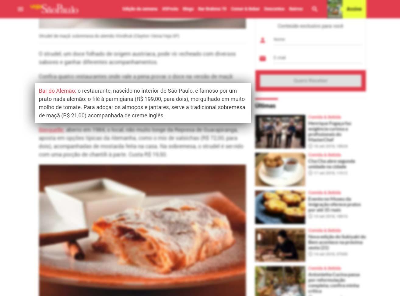 Veja SP - Restaurantes para comer strudel de sobremesa