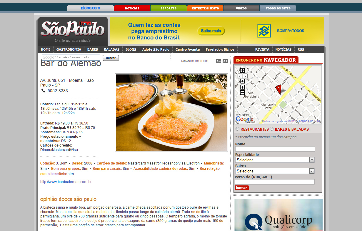 Bar do Alemão de São Paulo no website Época São Paulo