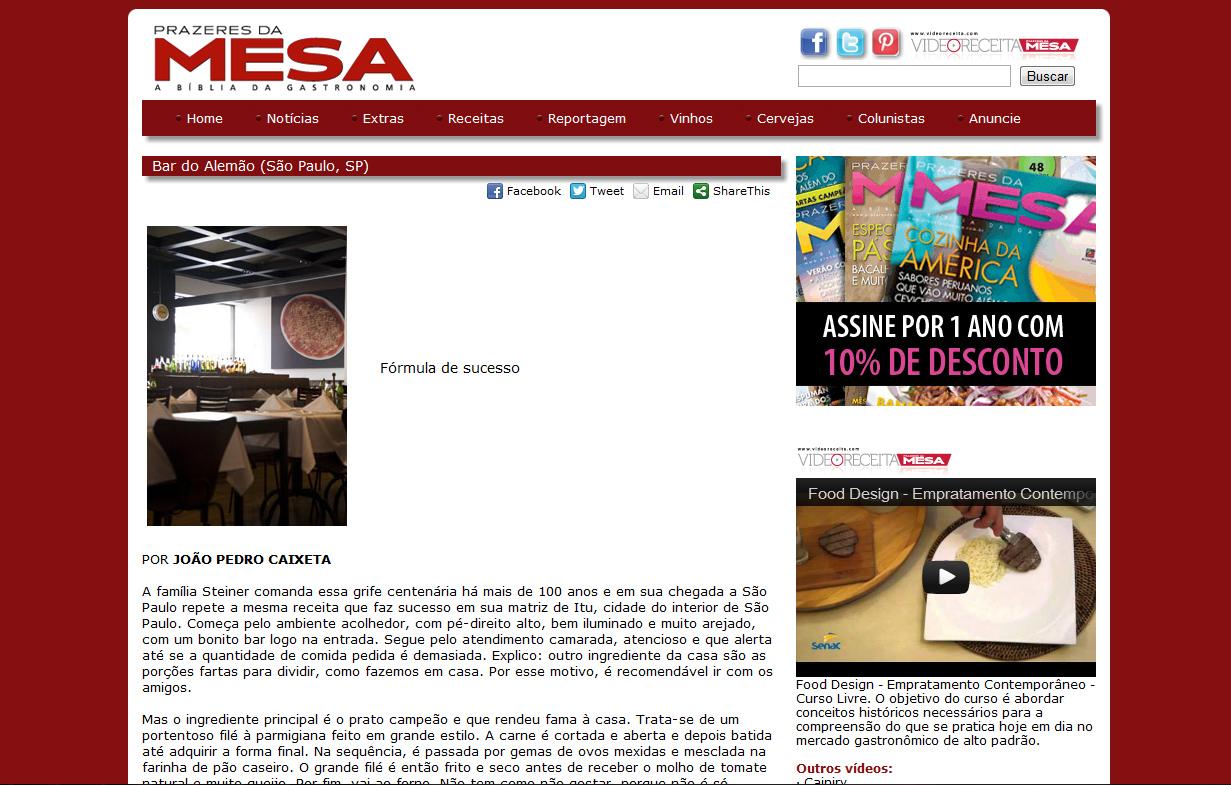 Bar do Alemão de São Paulo no website do Prazeres da Mesa